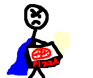 Angry pizza man has a blue cape