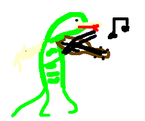 Lizard playing the violin