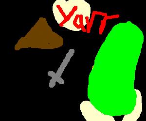 A pirate fighting a cucumber