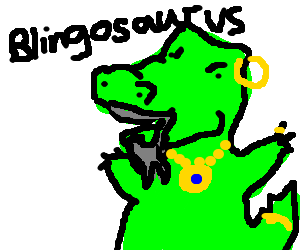 Goateed dinosaur shows off his jewelry