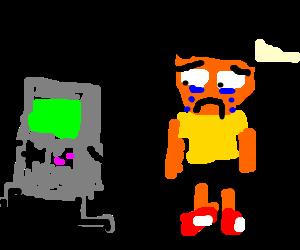 Gameboy running from sad child