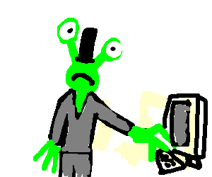 Alien in disguise tries to use a computer