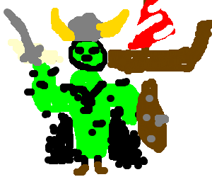 Green-faced viking wearing cactus and furry coat