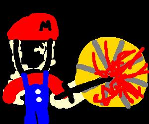 Mario killing a wheel of cheese