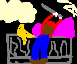 Mario sacrificing a wrench on an altar