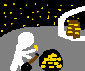 ron paul buries gold bullion behind his moonbase