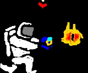 An astronaut proposing to Sauron.