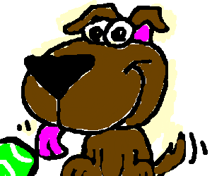 A dog licking balls