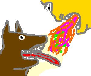 happy dog eating puke