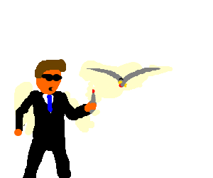 an agent knifing a seagull