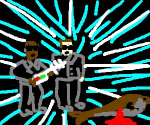 Men in black kick seal's ass