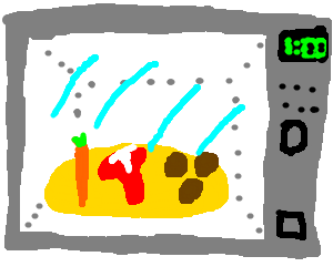 Carrot, Steak and Potatoes in a Microwave