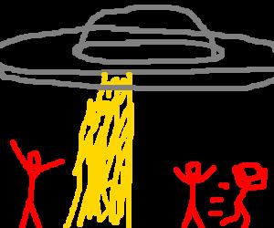Aliens arrive in grey ship; red people surprised