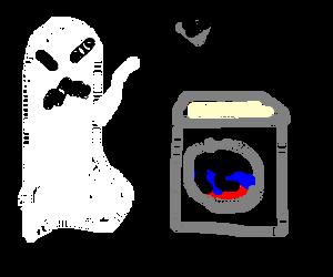 Ghost throws shovel at washingmachine - Fails