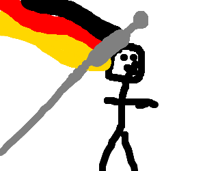 a man stunned by a german flag