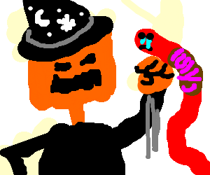 Anthropomorphic pumpkin witch punches red worm