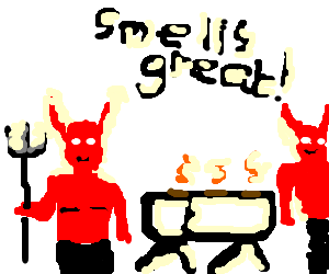2 devils enjoy a barbecue