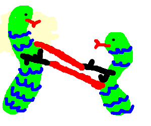 2 snakes are fighting with laser guns (pew-pew)