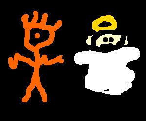 An orange cyclops robs an angel