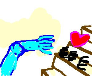Blue robot hand grasps for <3 springs on stairs.
