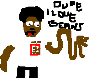 Black man with beans in his pocket   elastic arm