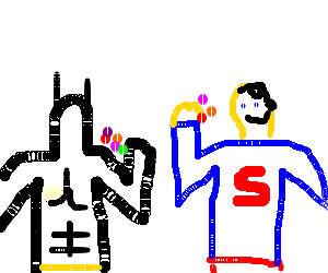 batman eating candy with superman with a moustac