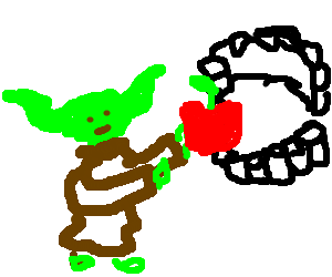 Yoda feeding dentures with the Force