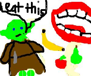 yoda feeding a giant mouth with some fruit