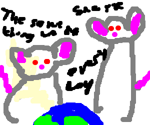 Two mice gloating over earth