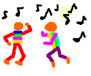 2 orange guys dancing disco music