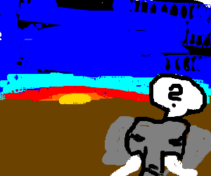 an elephant contemplates the dawn