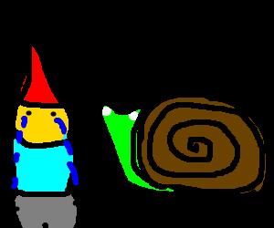 snail looking at crying gnome