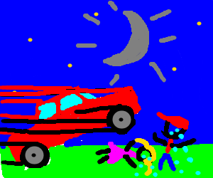 car with grey moon running over crying children