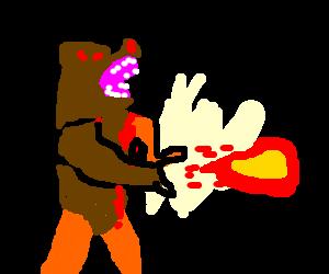 ManBearPig shooting a fireball