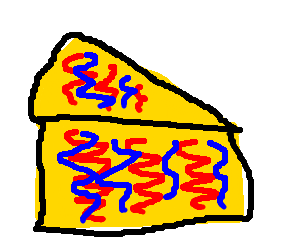 piece of cheese with serpentine red and blue