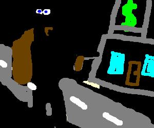 A man robbing a bank