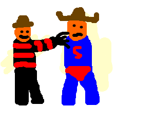 Freddy Kreuger fondles Mexican Superman