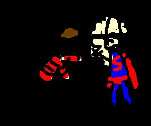 Freddy Krueger tickling mexican superman