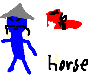 blue chinese, red shoe and the word horse