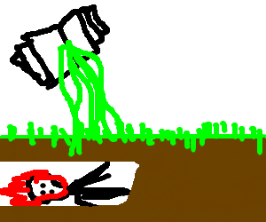 Ghostrider being burried by grass reads the ooze