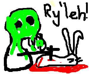 the mighty cthulhu kills a rabbit