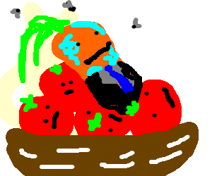 Well dressed rotted carrot in a bowl of tomatos
