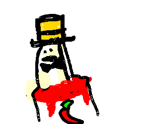 Taco man in a yellow top hat with hot sauce