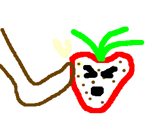 Very angry strawberry gets bonked by a foot.