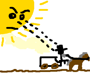 The sun is watching an Amish dude.