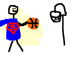 Superman Playing Basketball