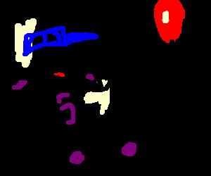 happy blue-hatted football star runs at ballon
