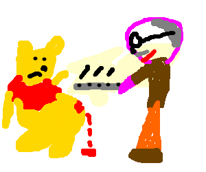 Winnie the Pooh subjected to corporal punishment