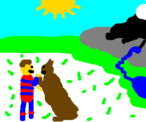 red and blue clothed guy high fives rabbit