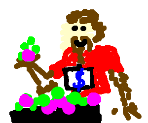A hairy man selling balls